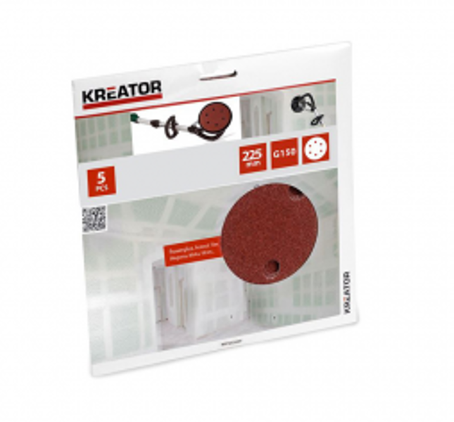 Smilšpapīra disks Ø225mm, G150 (5gab.), auduma bāze Kreator