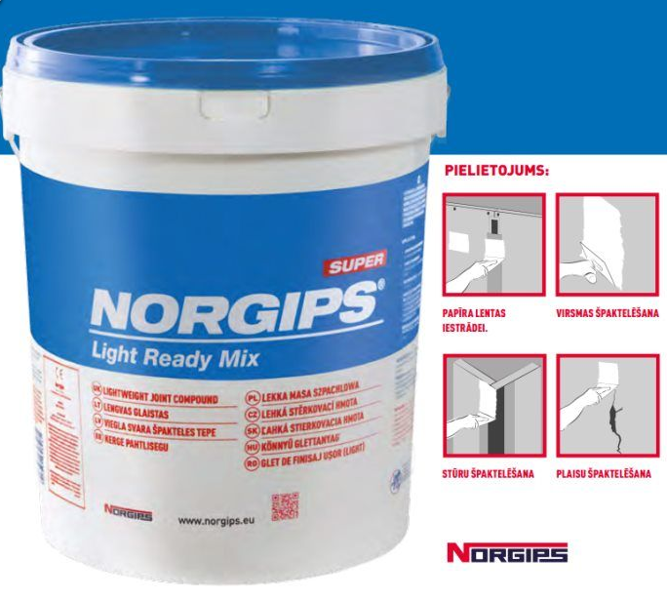 NORGIPS 20kg špaktele Light Ready Mix (zilā)