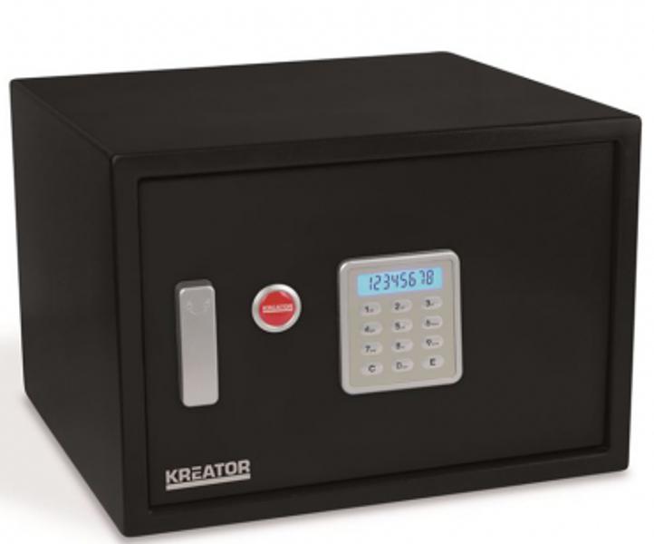 Elektroniskais seifs ar atslēgu 438x300x400mm Kreator