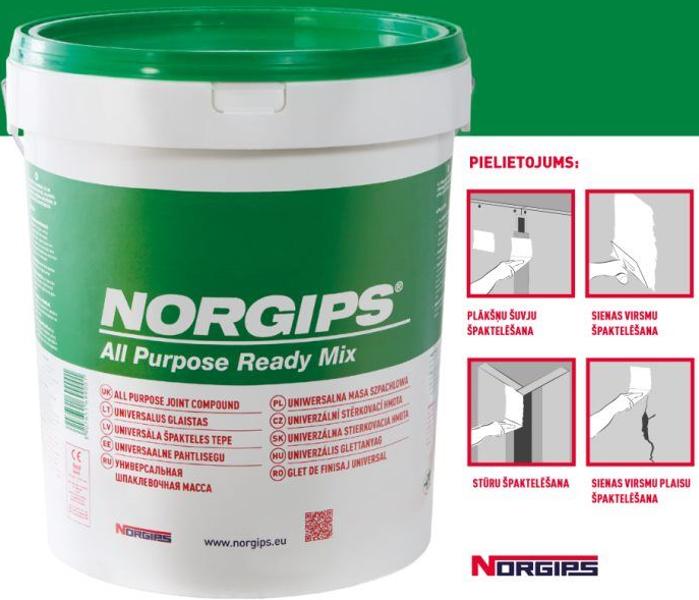NORGIPS 28kg špaktele (zaļā) All Purpose Ready Mix