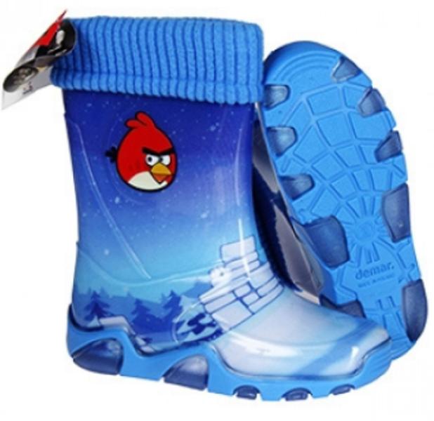 Bērnu zābaki Angry Birds ar zilu oderi