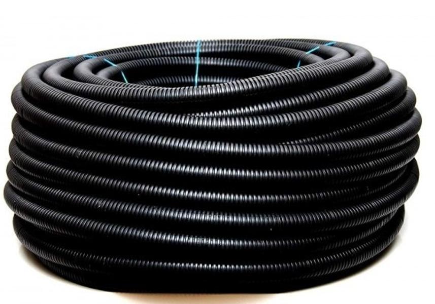 Gofrēta caurule 10/7 melna 100m (Elektroplast) Cena par 1 metru.